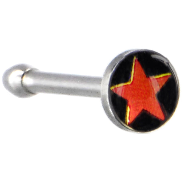 Surgical Steel Black and Red STAR Logo Nose Ring