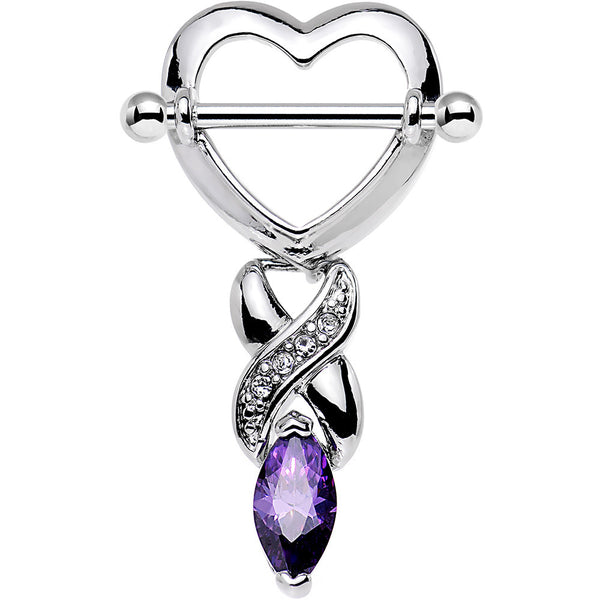 Purple Gem MARQUISE HEART Nipple Shield