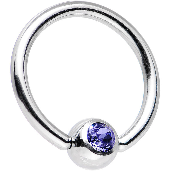 14 Gauge Tanzanite Gem Captive Ring Created with Swarovski Crystals