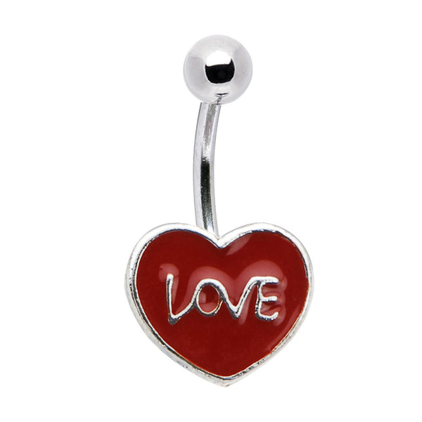 Red Enamel Heart LOVE Belly Ring