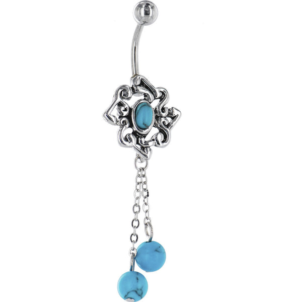 Vintage Southwest TURQUOISE FLOWER Dangle Belly Ring
