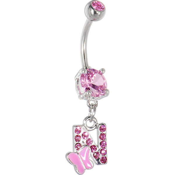 "Pink Gem Butterfly INITIAL Dangle Belly Ring - LETTER ""N"""