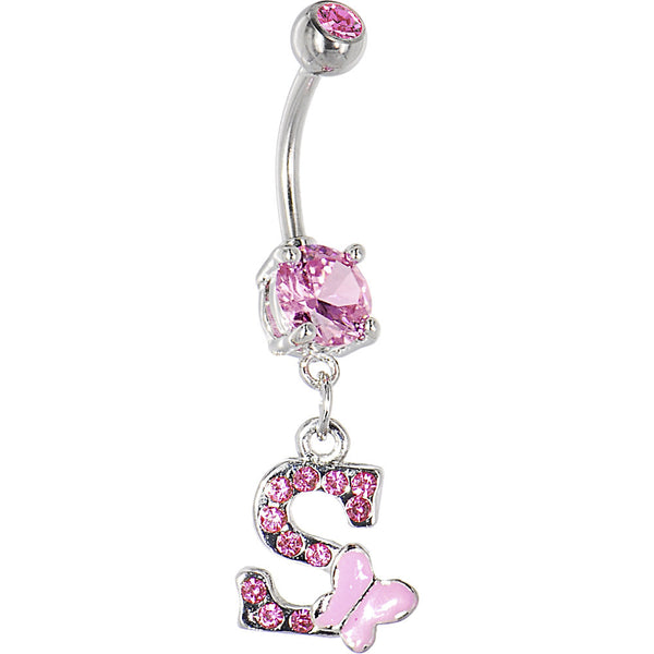 "Pink Gem Butterfly INITIAL Dangle Belly Ring - LETTER ""S"""