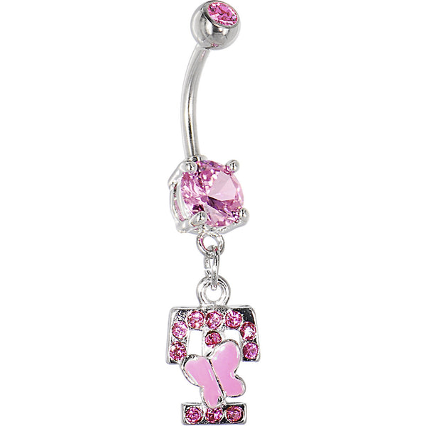"Pink Gem Butterfly INITIAL Dangle Belly Ring - LETTER ""T"""