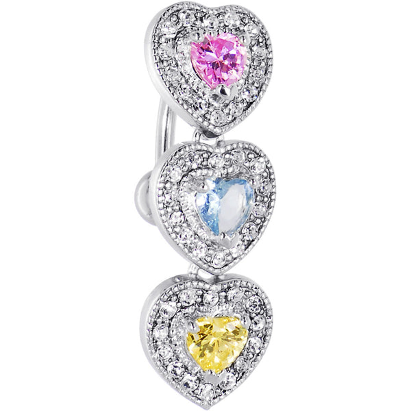 Top Mount Multi Jeweled HEART DROP Belly Ring