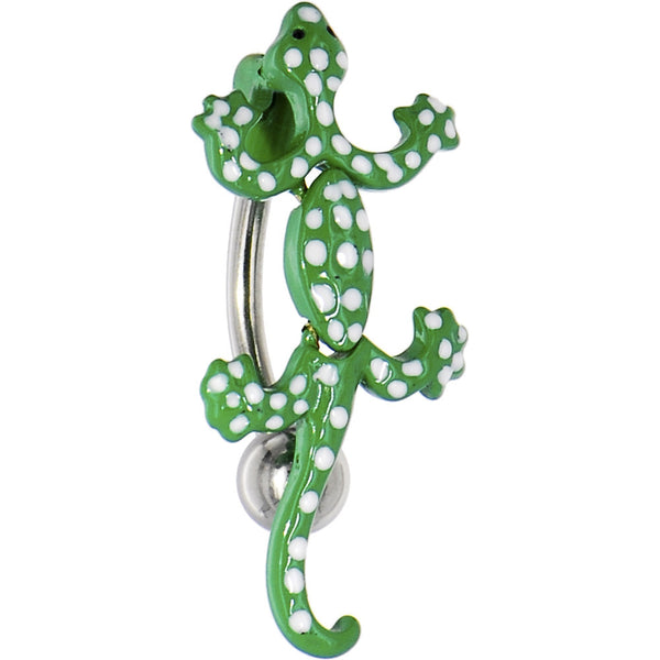 Top Mount Green POLKA DOT LIZARD Belly Ring
