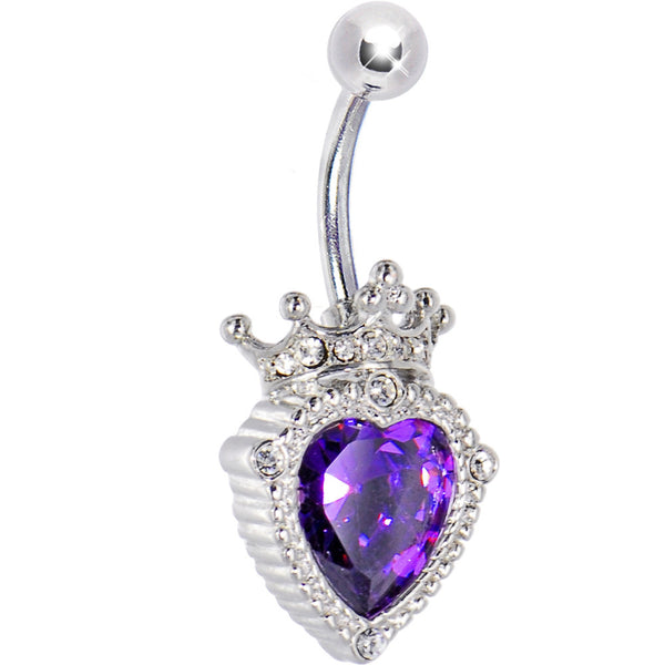 Purple Amethyst PRINCESS HEART Belly Ring