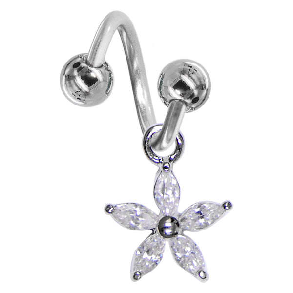 Crystalline Gem LILY FLOWER SOLITAIRE Spiral Twister Belly Ring