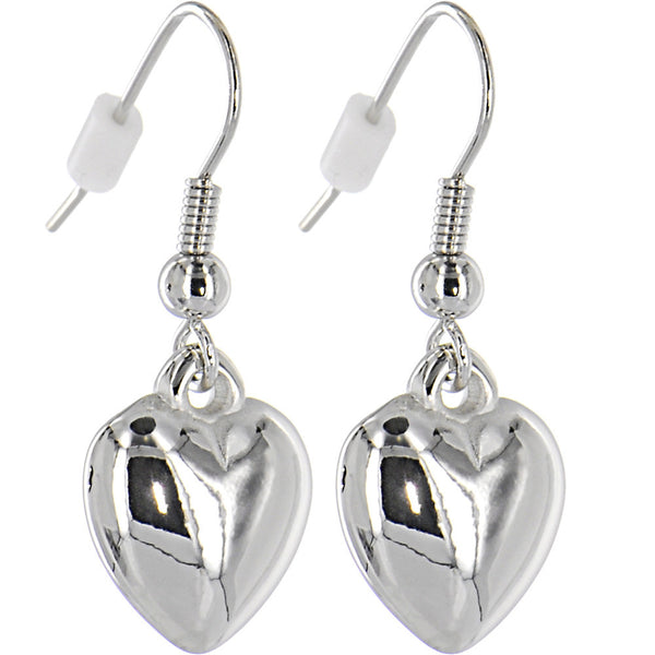 Silver Toned PUFFED HEART Dangle Earrings
