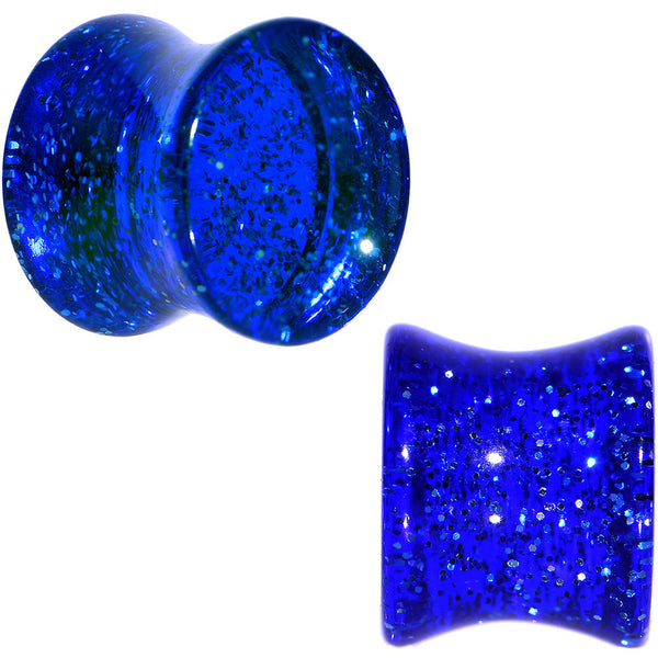 00 Gauge Blue Glitter Acrylic Saddle Plug Pair