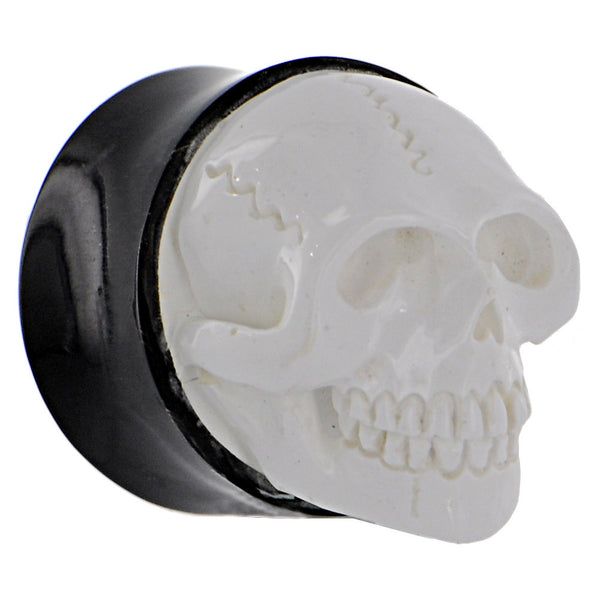 24mm Hand Carved SKULL Bone Saddle Plug