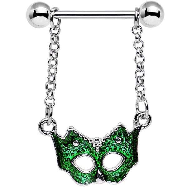 Green MASQUERADE MASK Dangle Nipple Shield