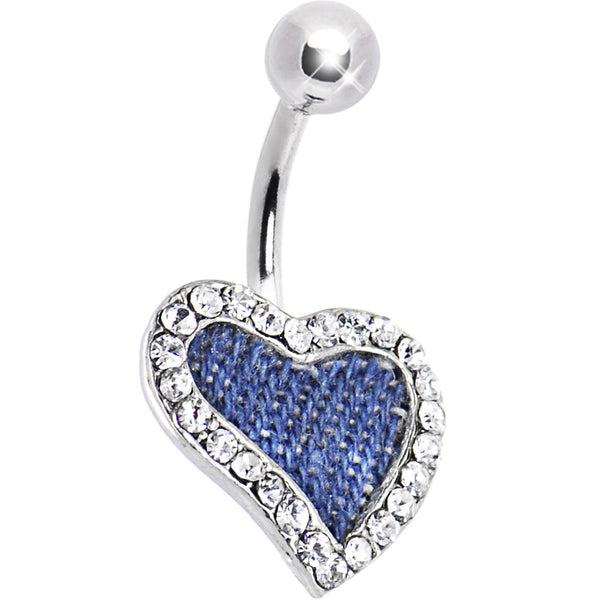 Denim Blues ABSTRACT HEART Belly Ring
