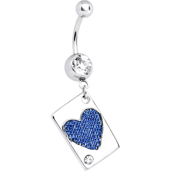 Crystalline Gem Denim HEART CARD Dangle Belly Ring