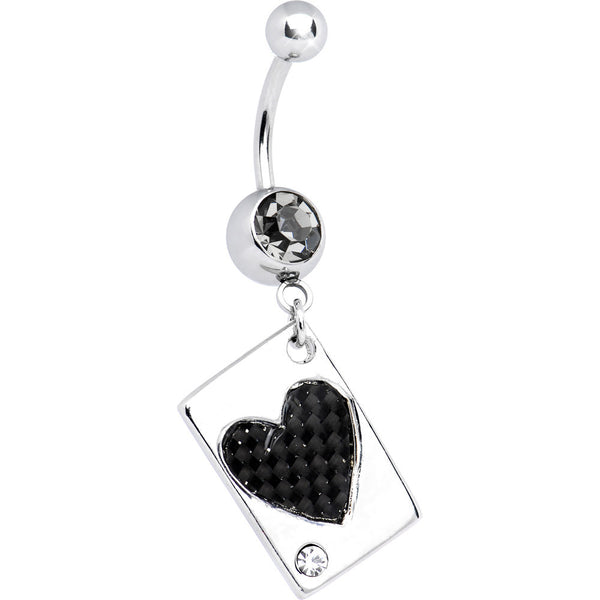 Black Diamond Carbon Fiber HEART CARD Dangle Belly Ring