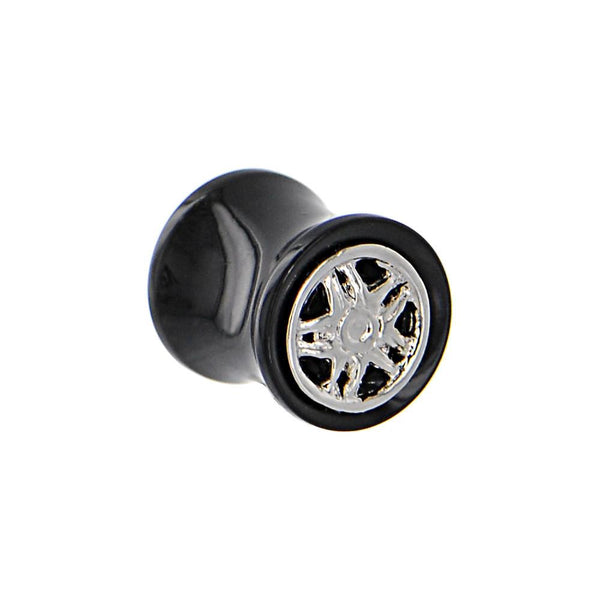 Black Acrylic STAR WHEEL FRAME Saddle Plug 00 Gauge to 20mm