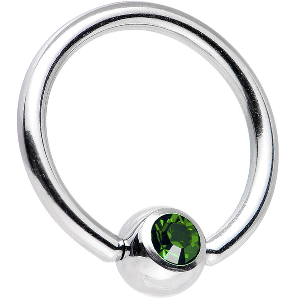14 Gauge Green Gem BCR Captive Ring Created with Swarovski Crystals