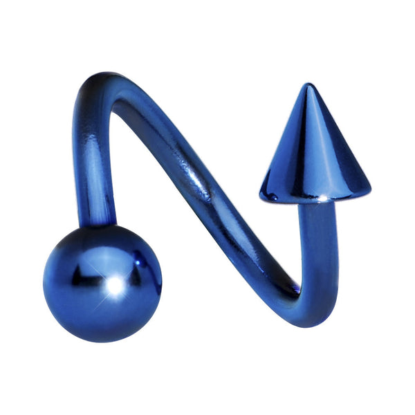 Blue Anodized Titanium Spiral Twister Ball-Cone Belly Ring