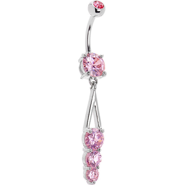 Pink Trio Gem Drop Belly Ring