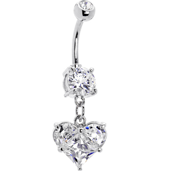 Clear Scintillating Heart Cubic Zirconia Belly Ring