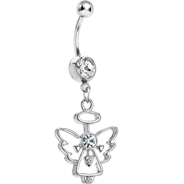 Crystalline Gem Hollow Angel Belly Ring