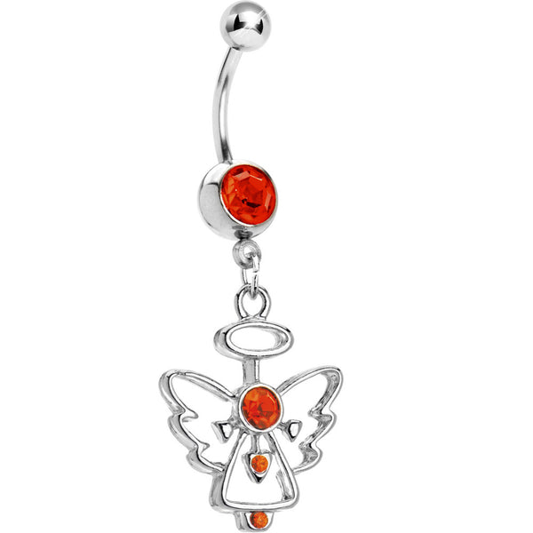 Hyacinth Red Gem Hollow Angel Belly Ring
