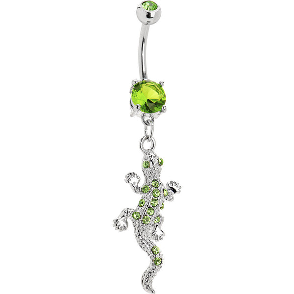 Peridot Green Gem Lizard Dangle Belly Ring
