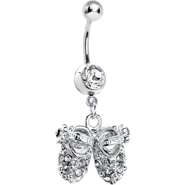 Crystalline Jeweled Baby Shoes Belly Ring