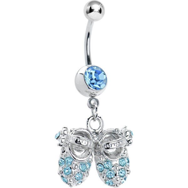 Aqua Jeweled Baby Shoes Belly Ring