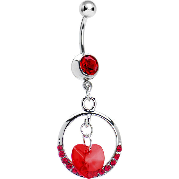 Siam Red Gem Circular Heart Drop Belly Ring