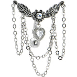 Crystalline Ivy Heart Chandelier Top Drop Belly Ring