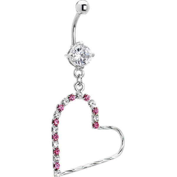 Pink Cubic Zirconia Hollow Heart Dangle Belly Ring