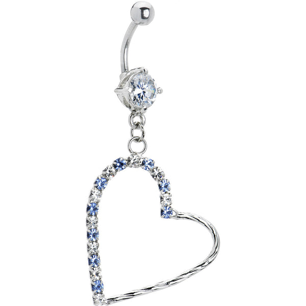 Light Blue Cubic Zirconia Hollow Heart Dangle Belly Ring