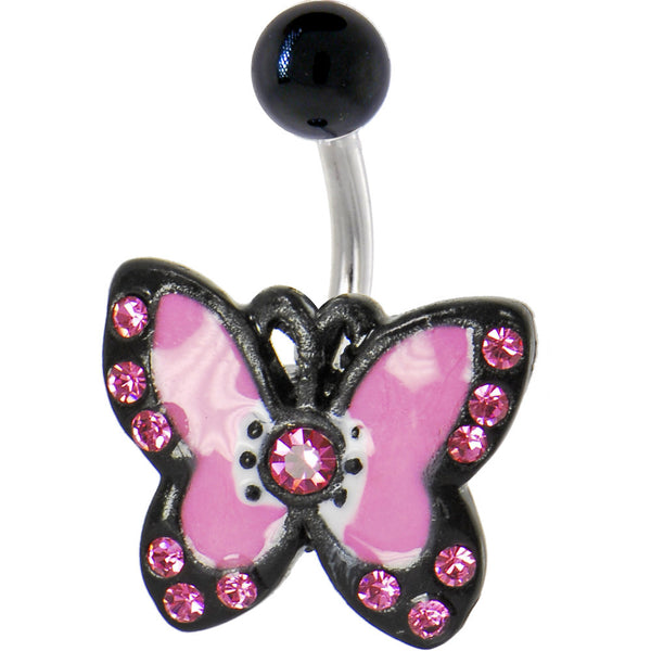Pink Cubic Zirconia Butterfly Bijou Belly Ring