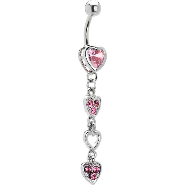 Pink Cubic Zirconia Bezel Heart Dangle Belly Ring