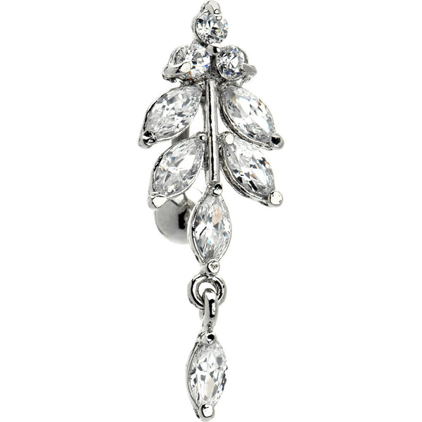 Clear Gem Titanium Aphrodite Top Mount Dangle Belly Ring