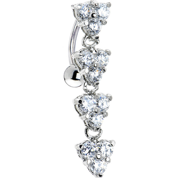 Clear Gem Titanium Blossom Top Mount Belly Ring
