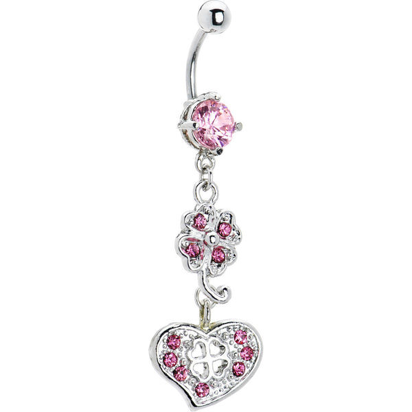 Pink Cubic Zirconia Heart Shamrock Belly Ring