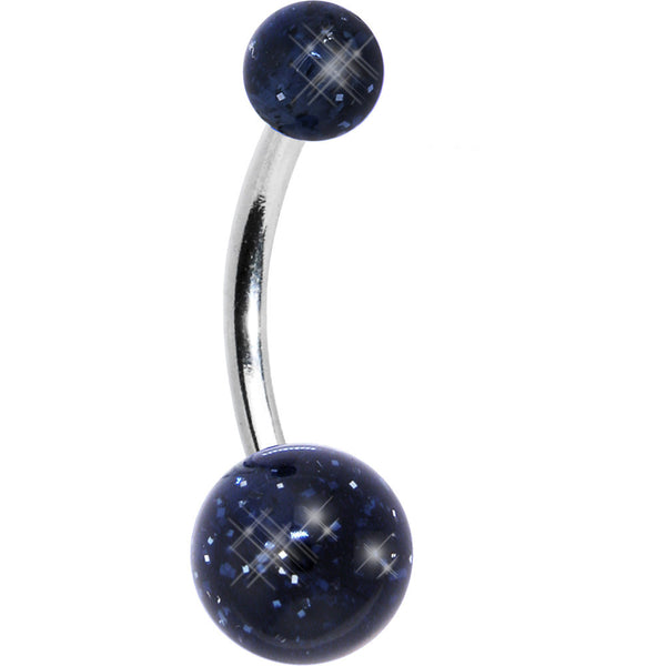 Black Dark Blue GLITTER Belly Button Ring