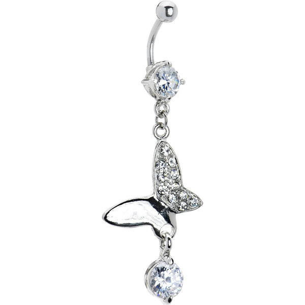 Clear Cubic Zirconia Half Hollow Butterfly Belly Ring