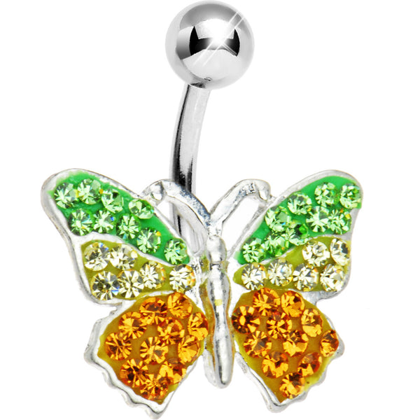 Green Gold Austrian Crystal Butterfly Belly Ring