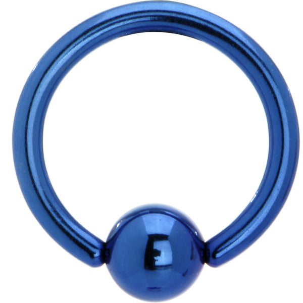 14 Gauge Blue Anodized Titanium Ball Captive Ring