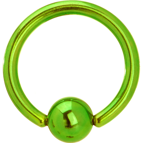 14 Gauge Green Anodized Titanium Ball Captive Ring
