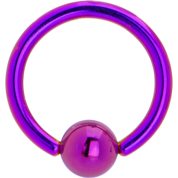 14 Gauge Purple Anodized Titanium Ball Captive Ring