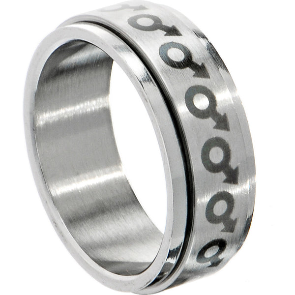 316L Surgical Steel Male Gay Pride Spinner Ring