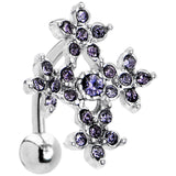 Tanzanite Purple Floral Cross Top Mount Belly Ring
