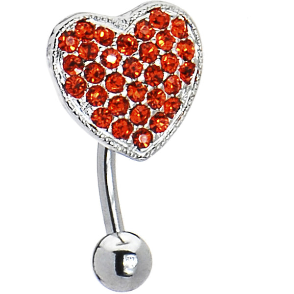 Top Drop Hyacinth Orange Ritzy Heart Belly Ring