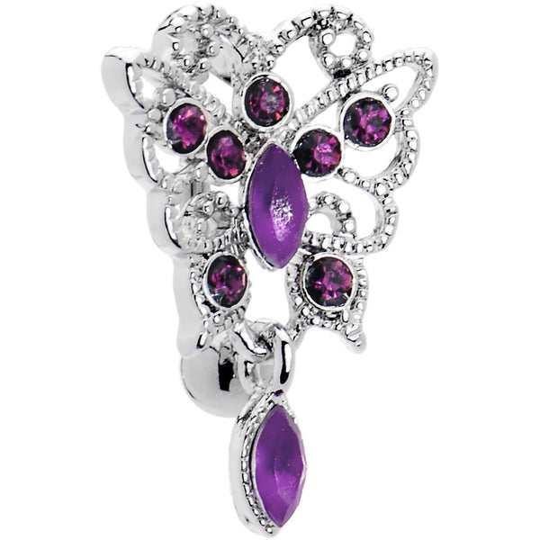 Amethyst Purple Scintillating Butterfly Belly Ring