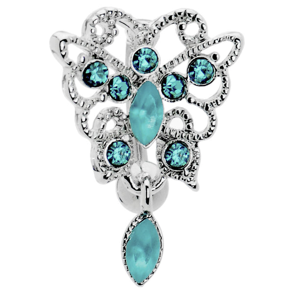 Blue Zircon Gem Butterfly Chandelier Top Mount Belly Ring