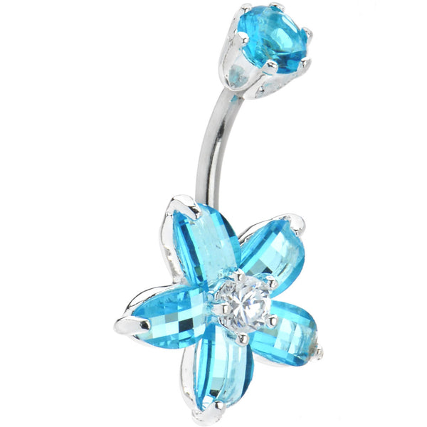 Sterling Silver 925 Aqua Cubic Zirconia Flower Belly Ring